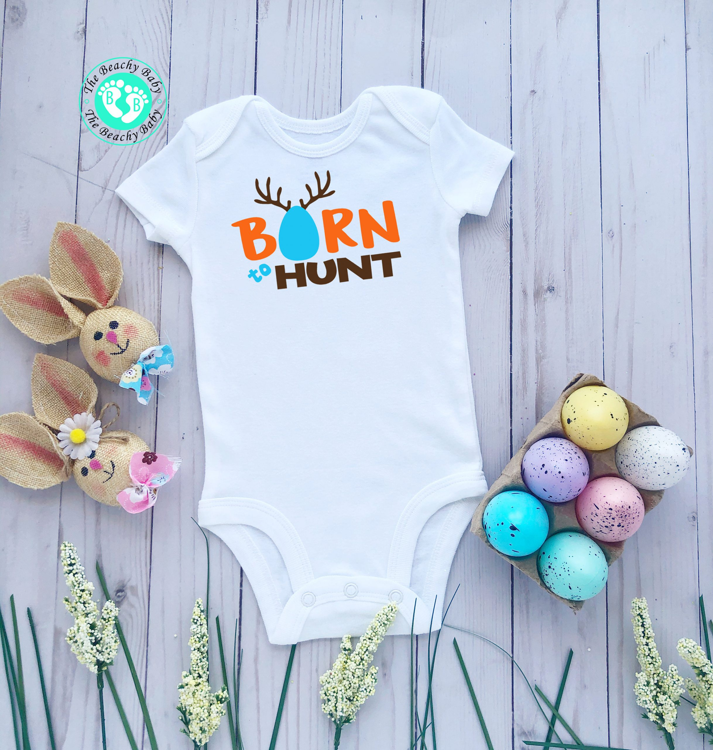 First Easter Gift baby boydsuit Easter Baby Boy Outfit Easter Baby Bodysuit Born to Hunt Bodysuit Cute Spring Outfit for Baby Boy